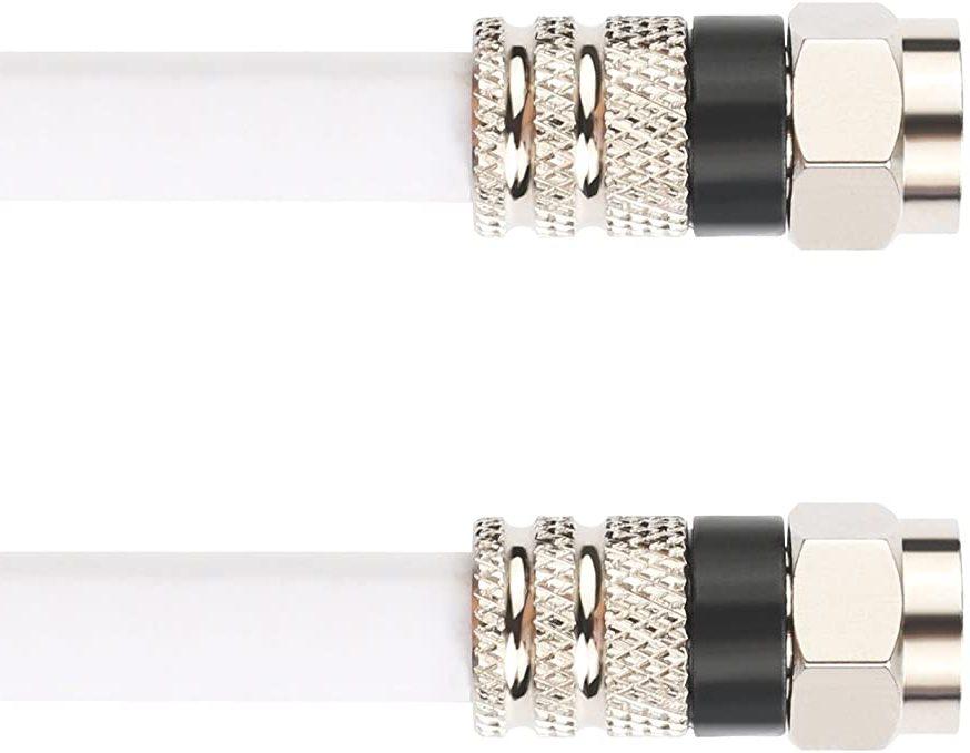สาย RG6 สีขาวพร้อมขั้วต่อ F-Male